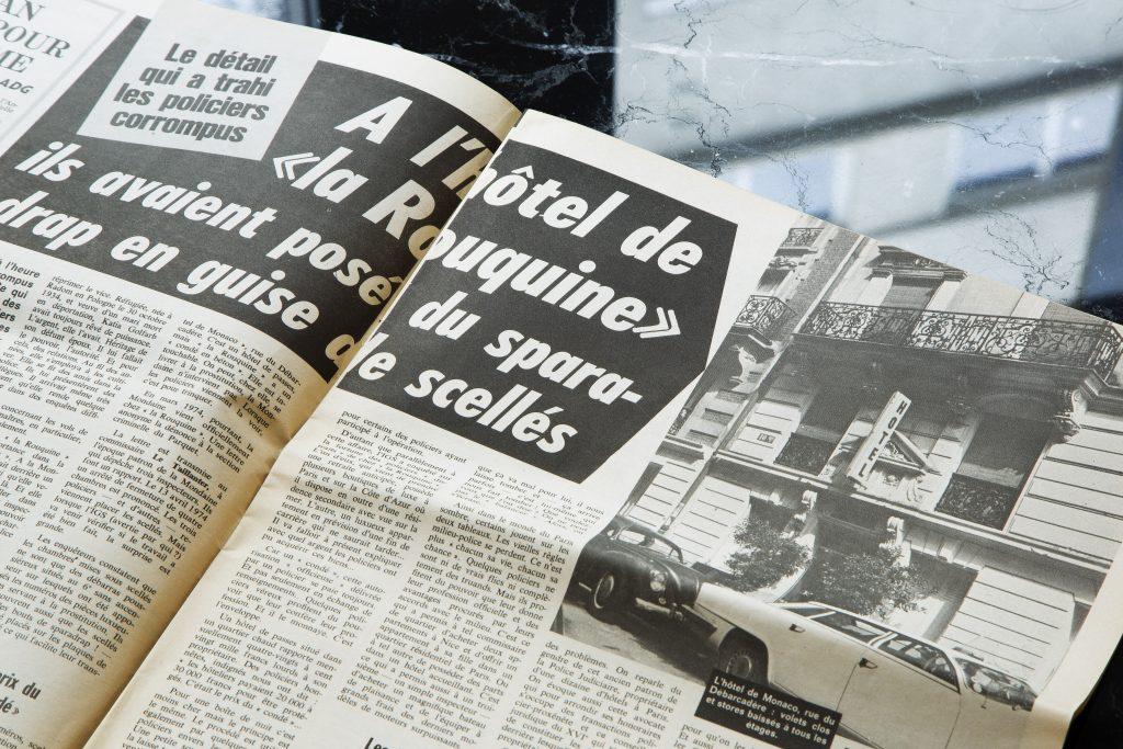 Coupures de presse en lien avec le passé de l'hôtel Le 10Bis et Katia la rouquine