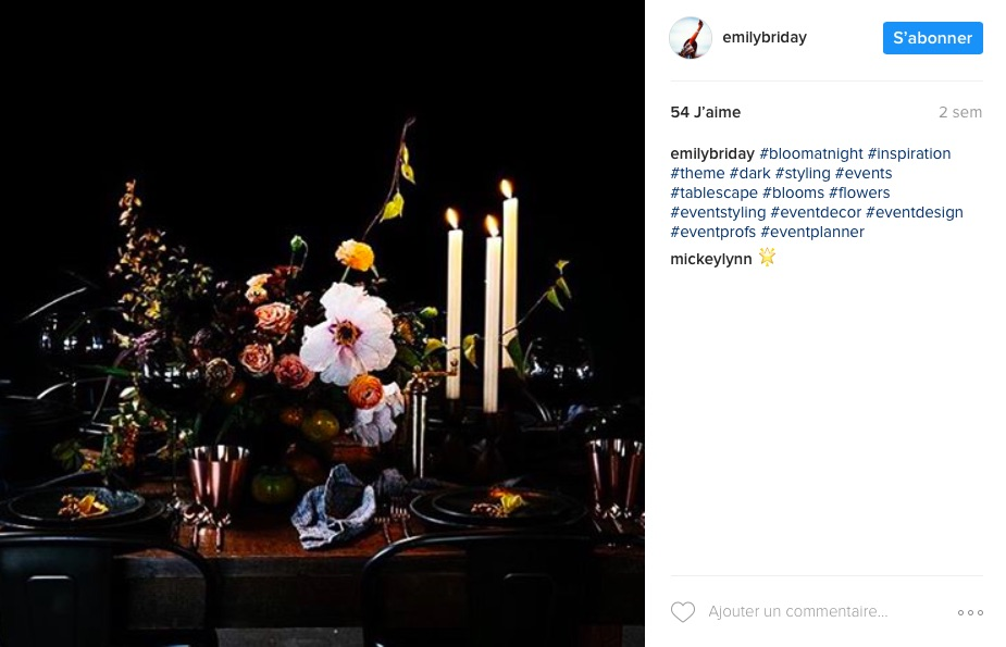 Emily Briday event planner instagram fleurs
