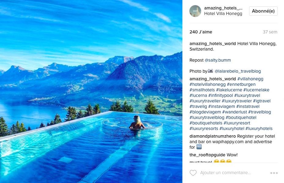 Instagram Amazing Hotels World hôtel Suisse