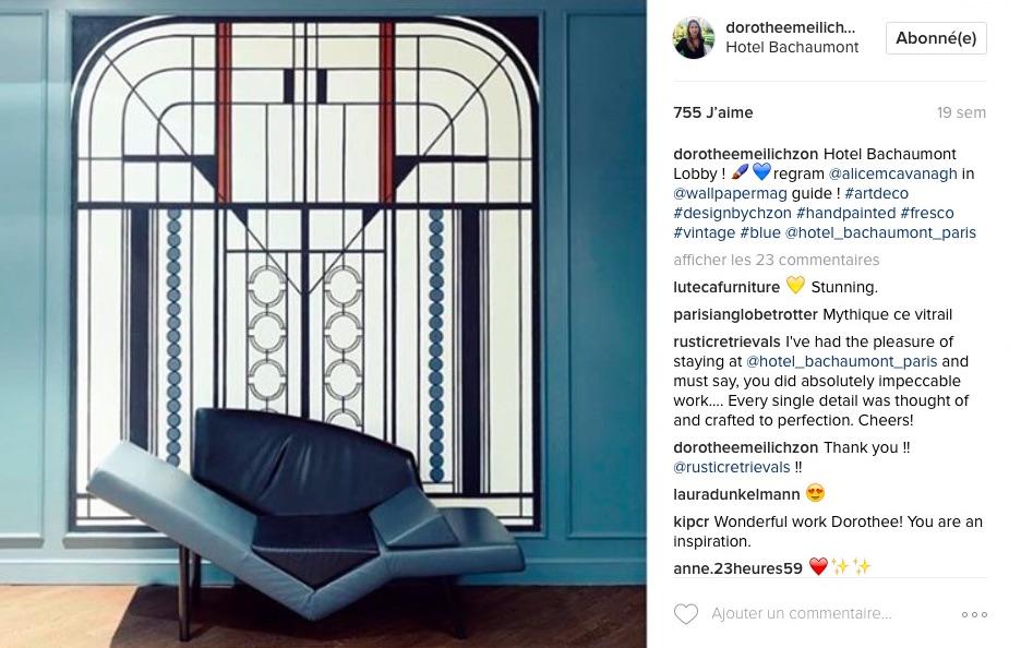 Instagram Dorothée Meilichzon architecture hôtel Bachaumont