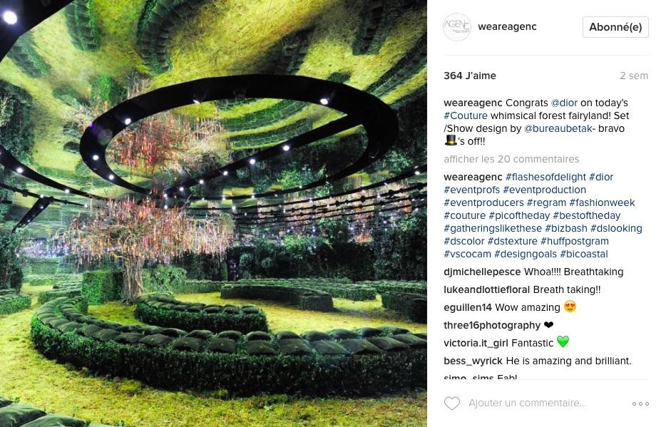 Instagram agence américaine événementiel